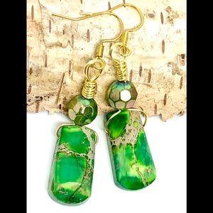 Green Imperial Jasper AB Glass Geometric Earrings